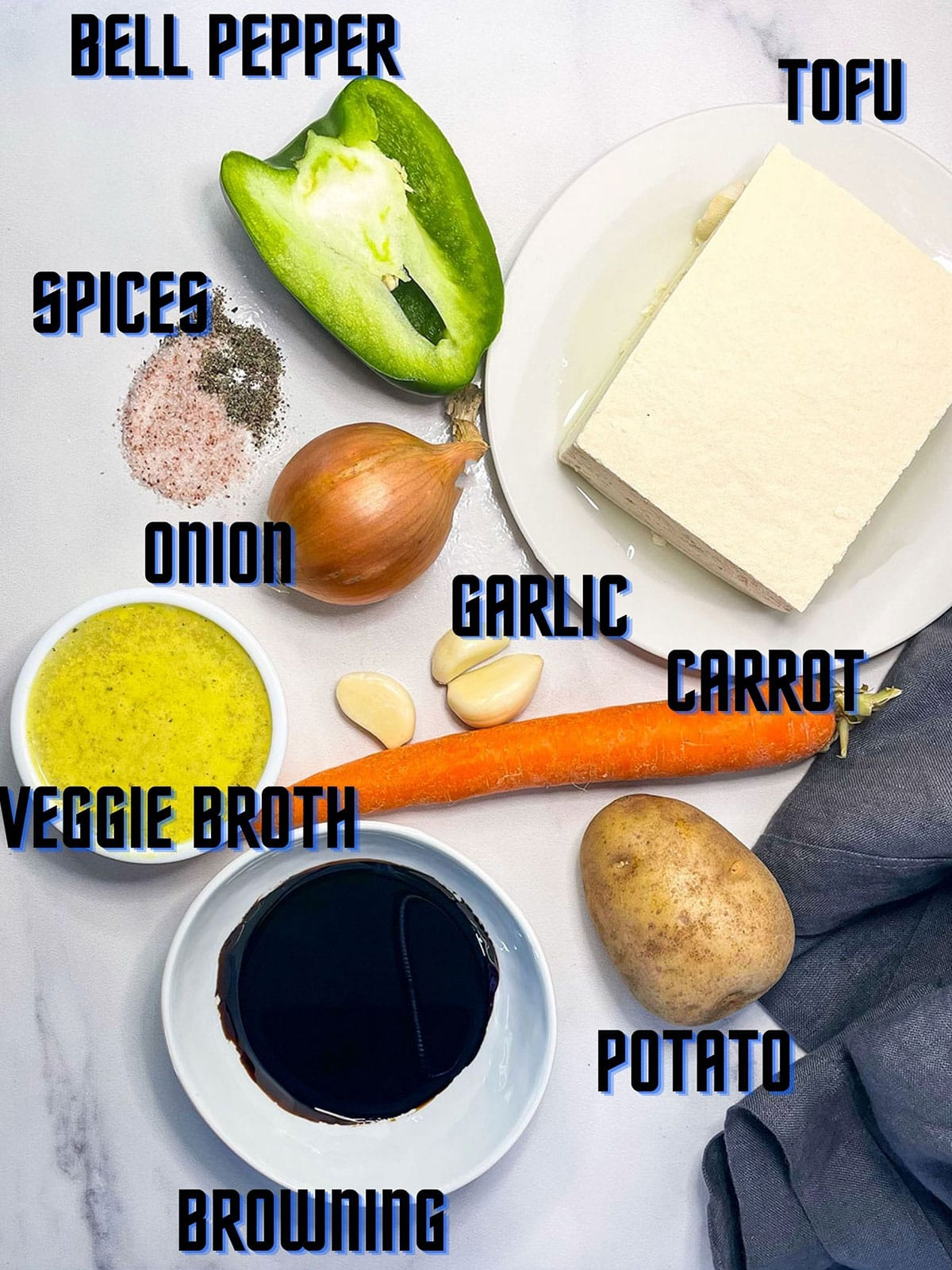 ingredients for tofu brown stew on a white background