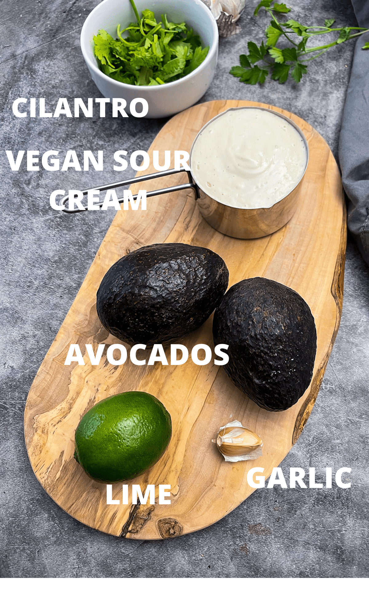 Ingredients for avocado lime crema