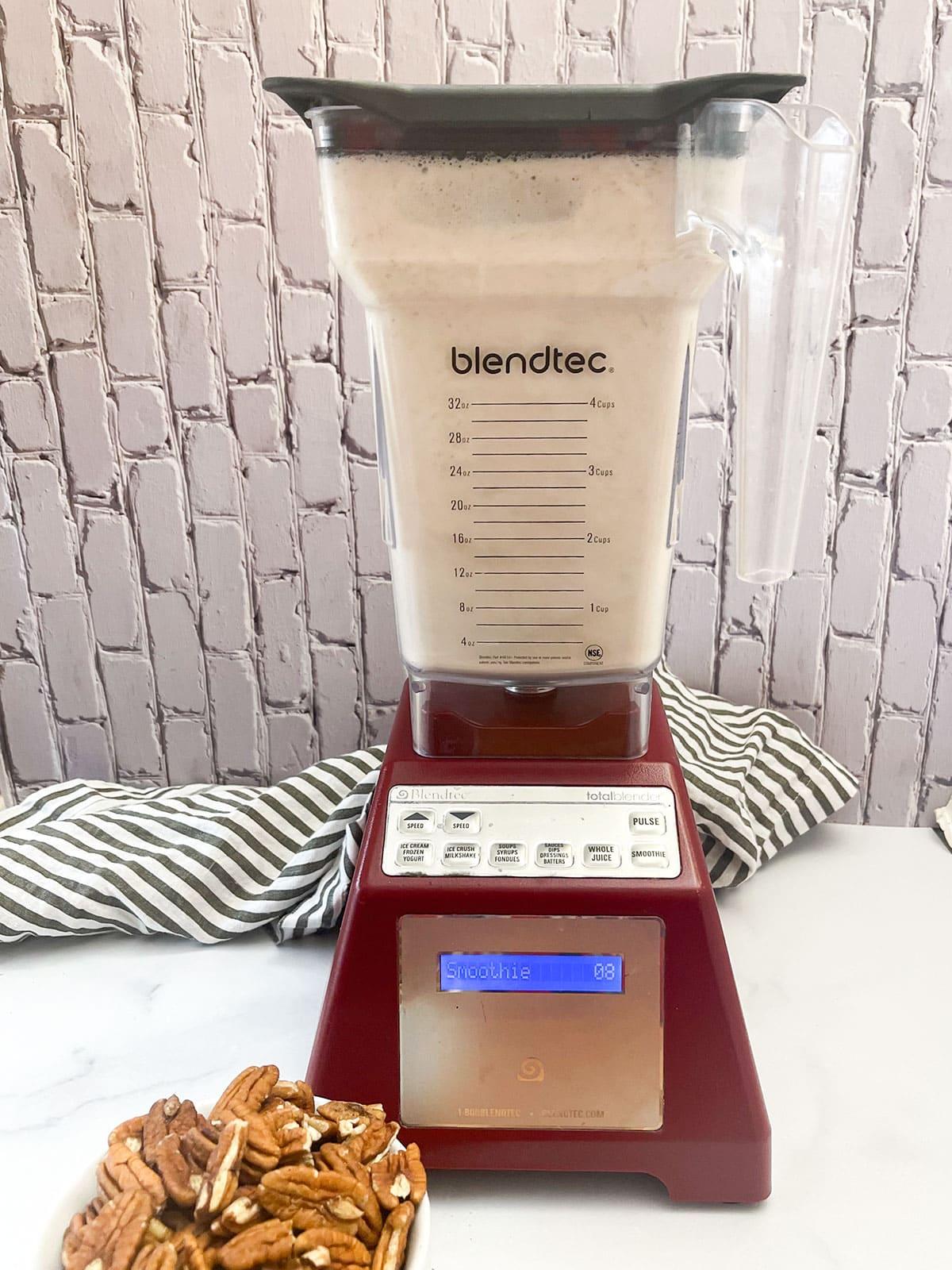 blender with pecan milk