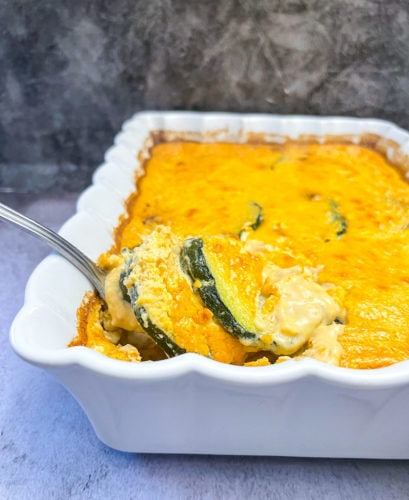 chayote casserole in a white pan close up