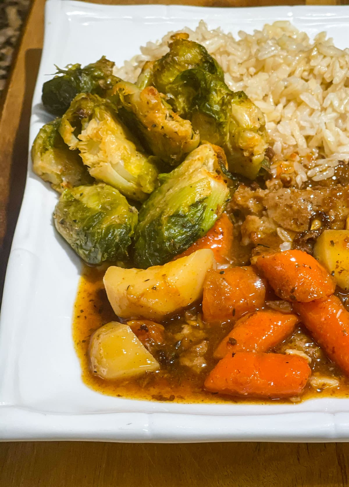 smashed Brussels sprouts dinner with rice and vegetable stew