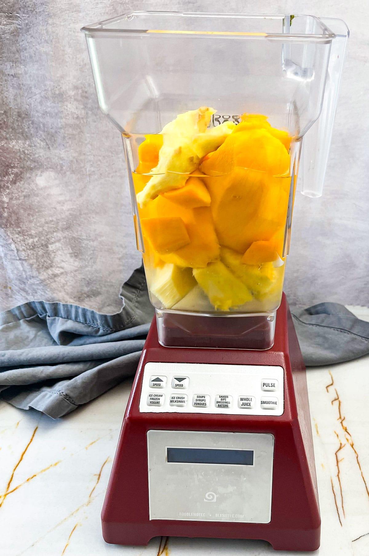 ingredients for mango pineapple juice in blender