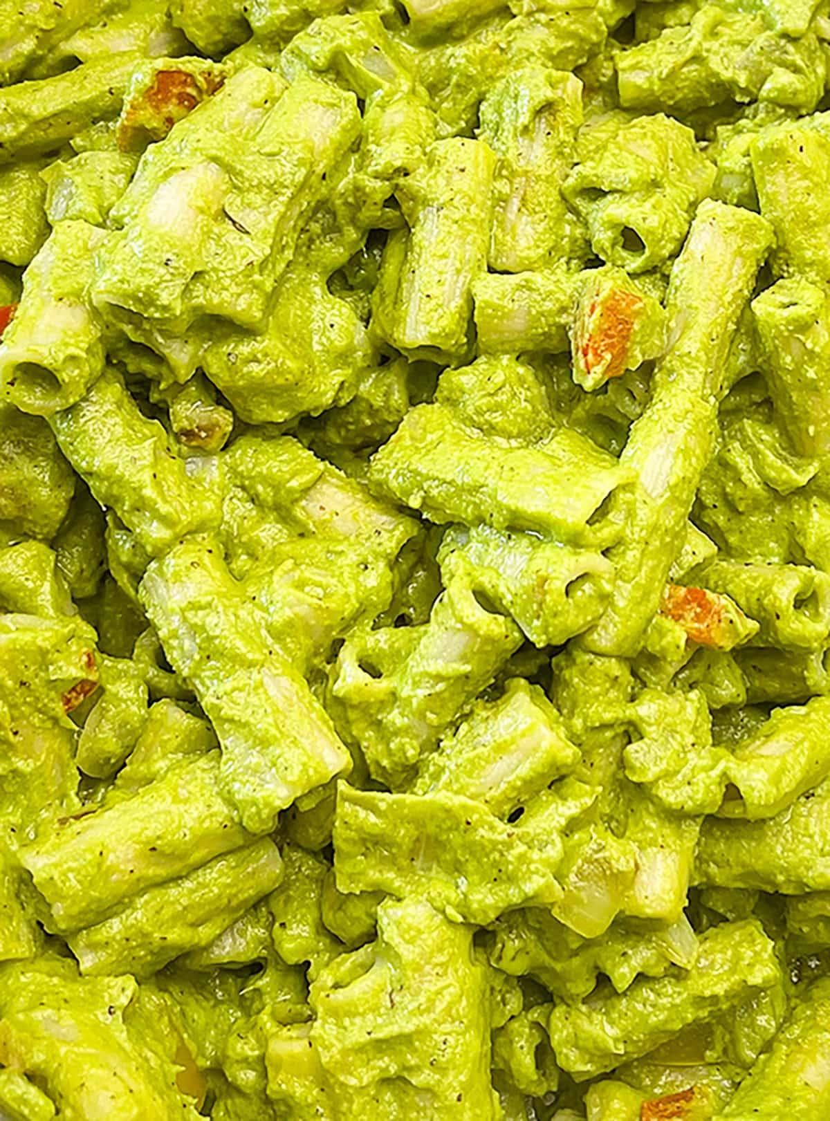 close up penne pasta