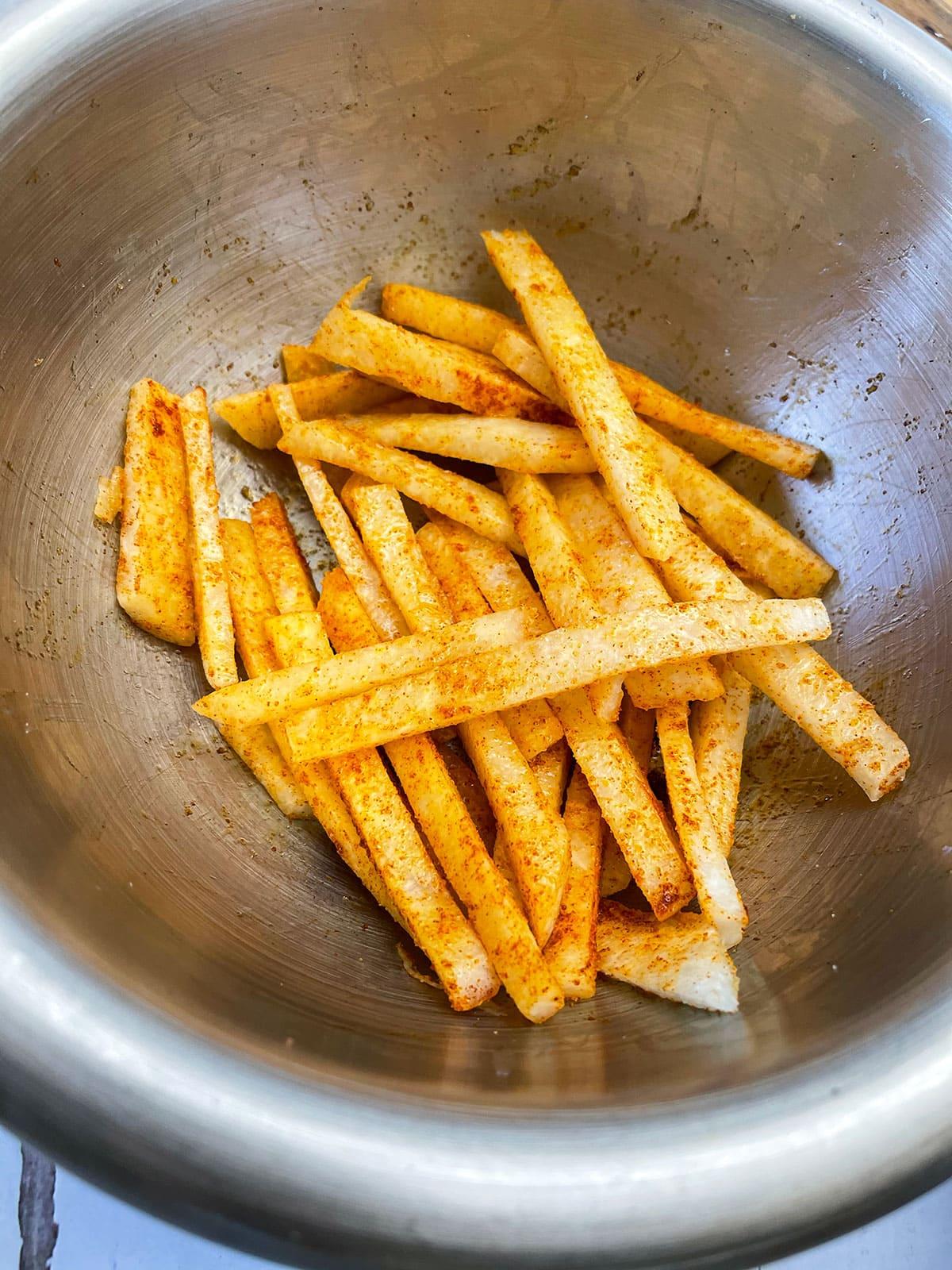 jicama fries seasoned