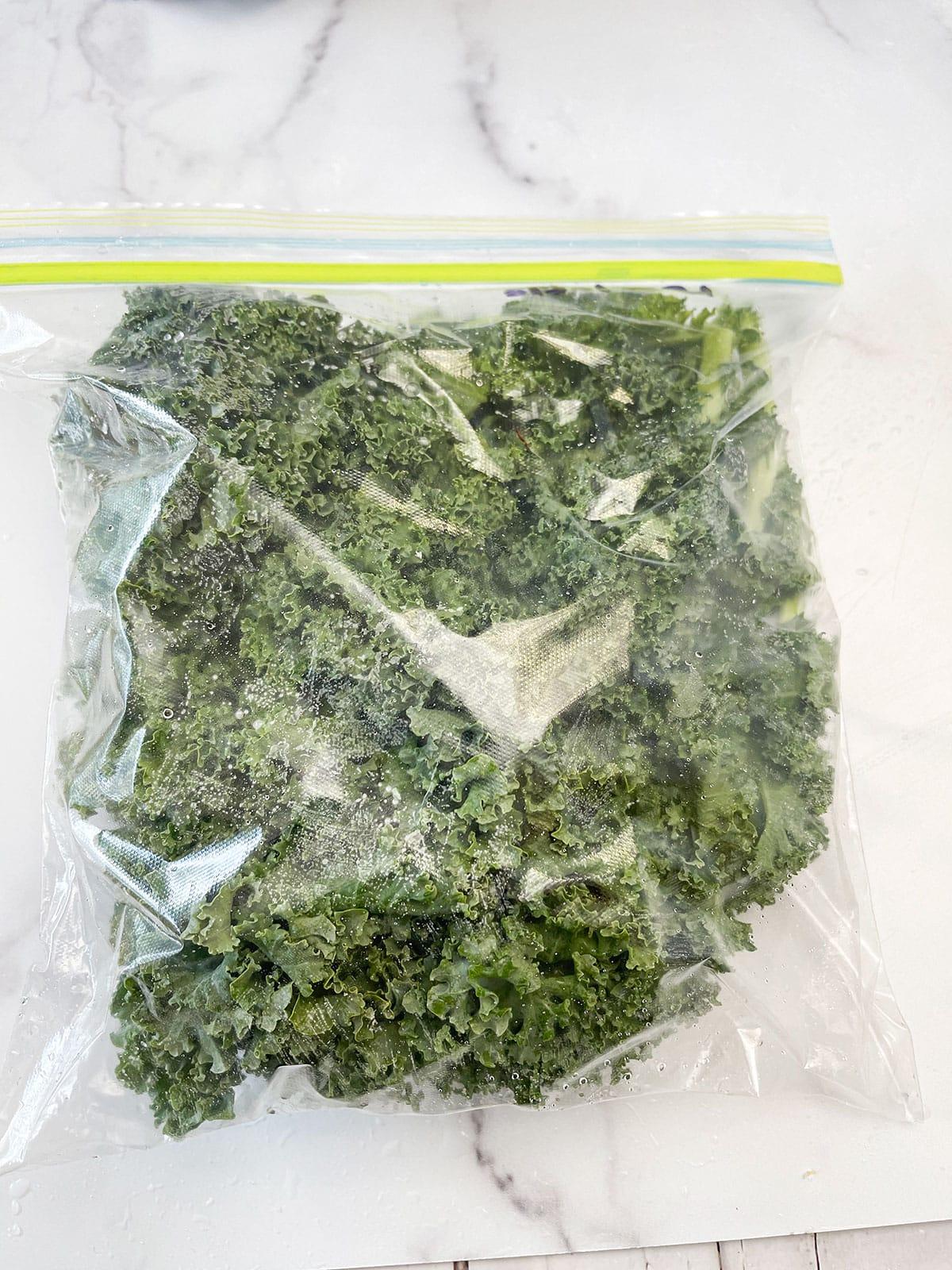 whole kale leaves in ziplock bag