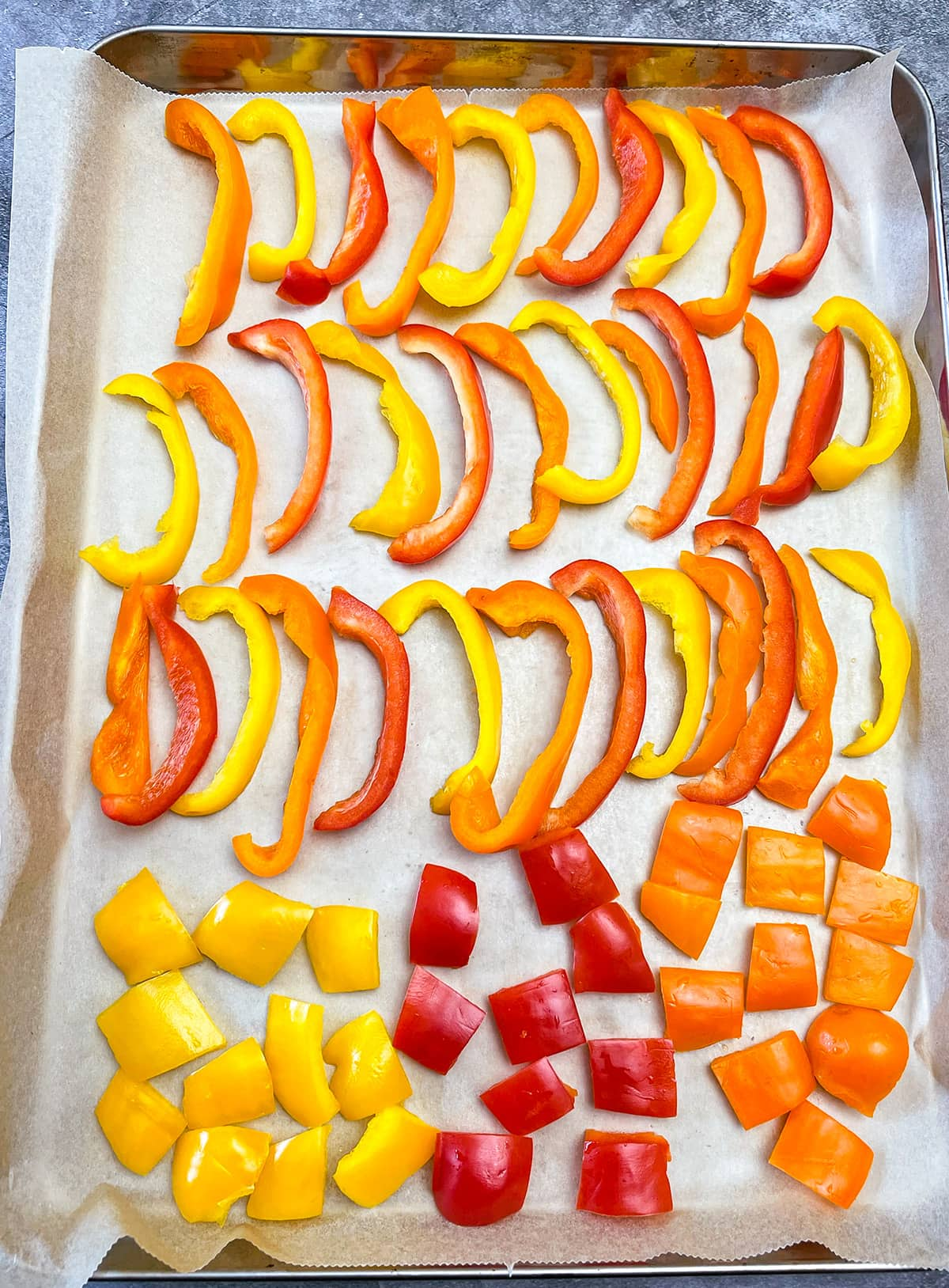 flash freezing bell peppers on baking sheet