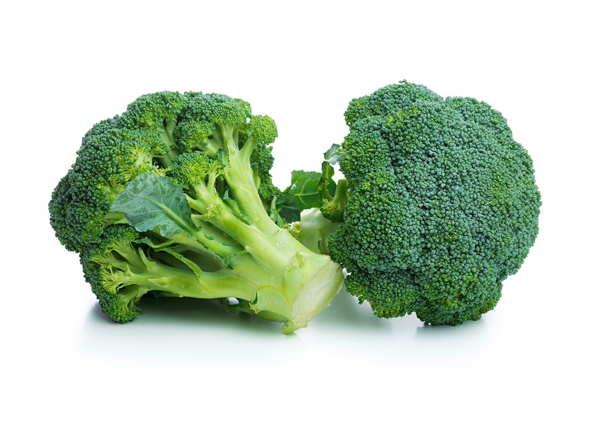 broccoli crowns on white background