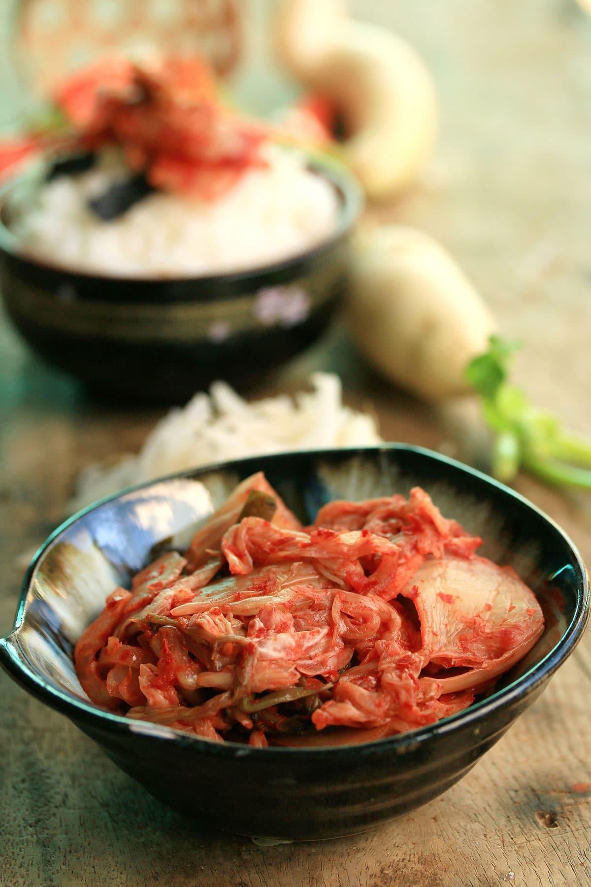 kimchi in black bowl