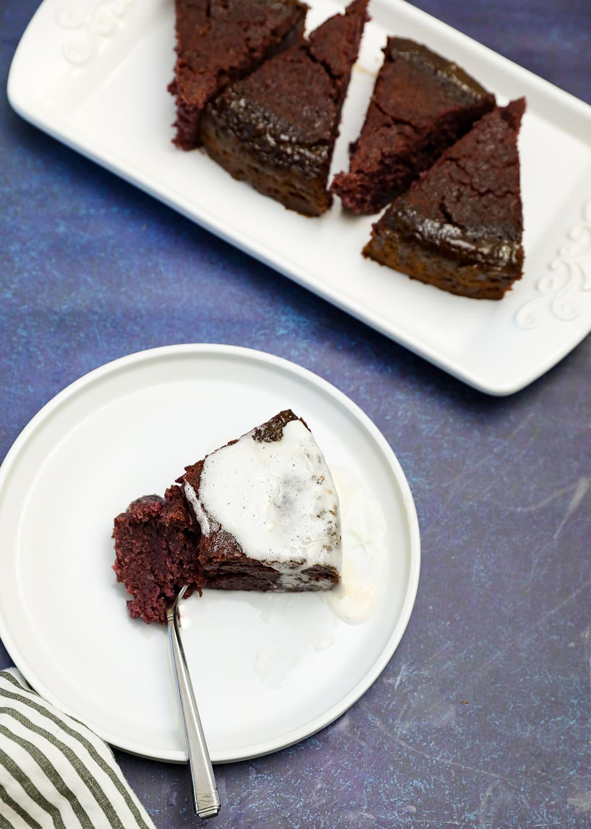 Purple sweet potato pudding overlay, slices of purple sweet potato in white platter and white plate