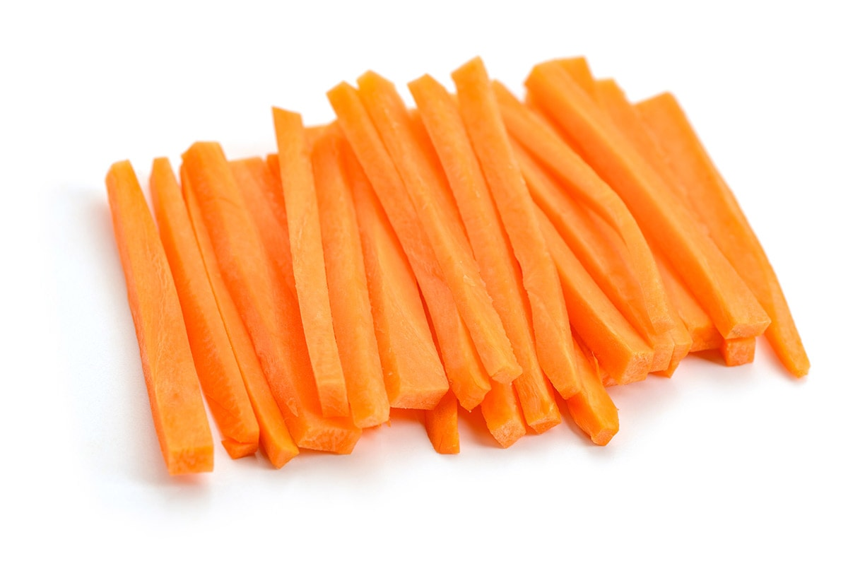 carrot sticks on white background