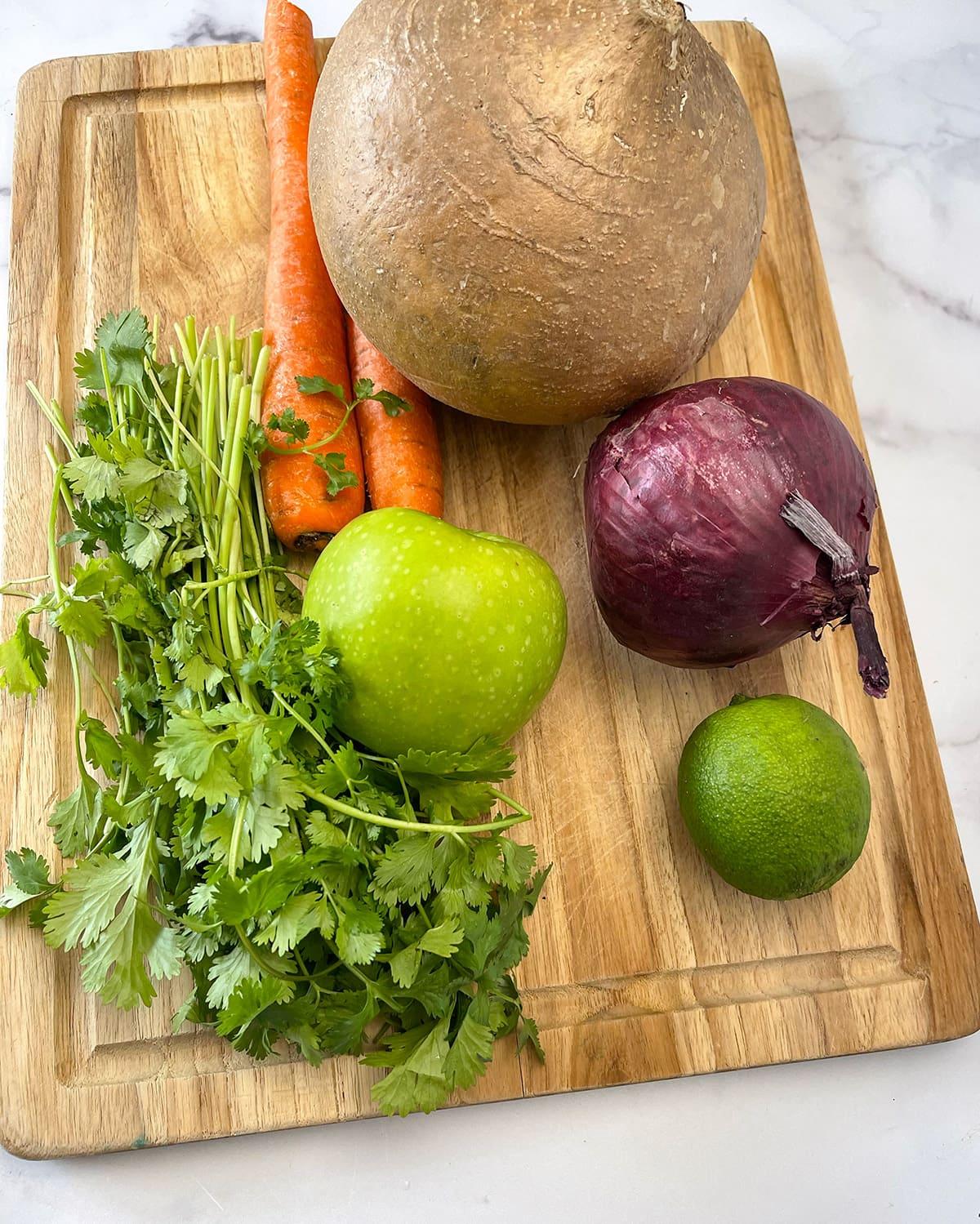 Ingredients for jicama coleslaw
