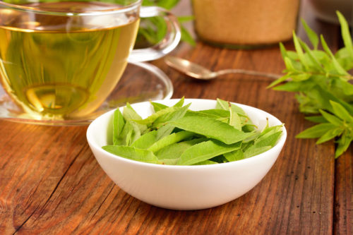lemon verbena tea in a glass cup on a wooden background