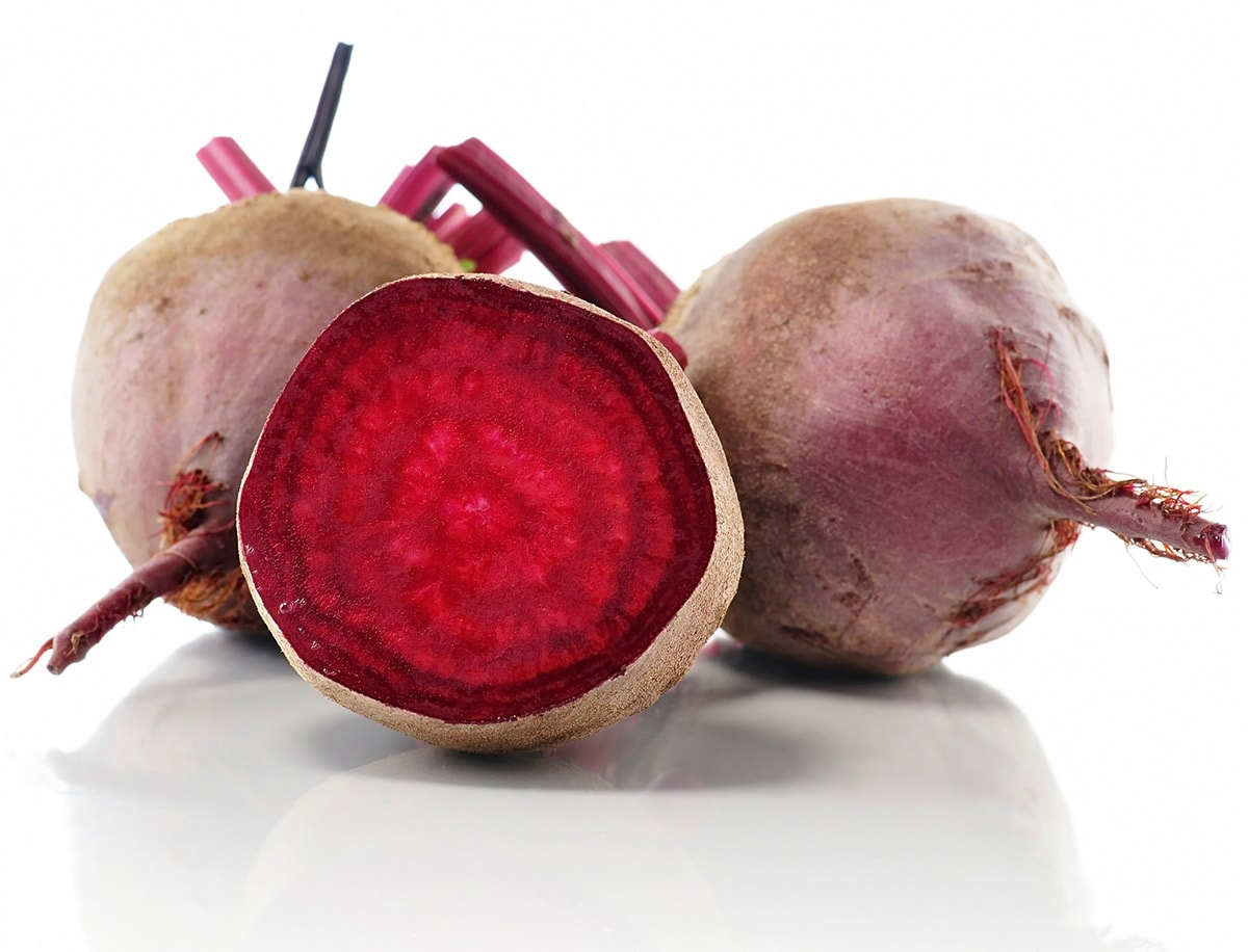 Red beets isolated on a white background