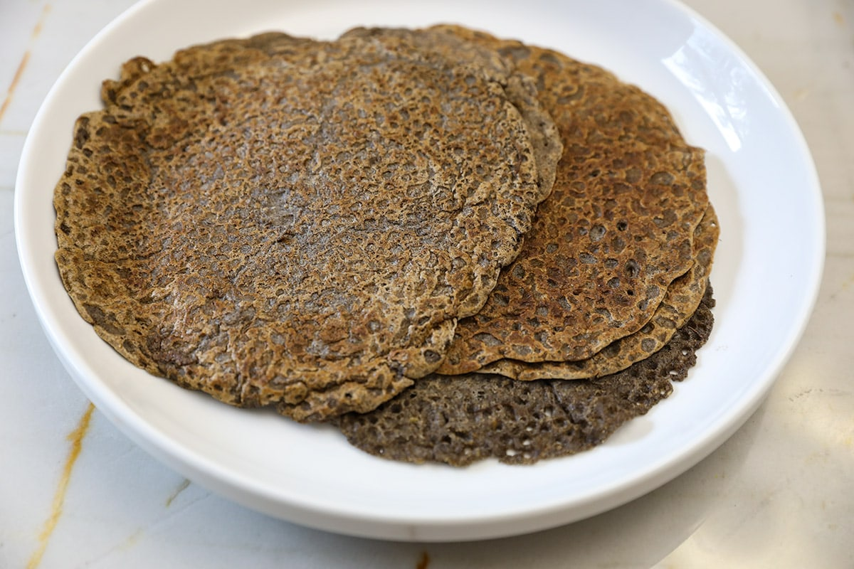 buckwheat crepes on white plate