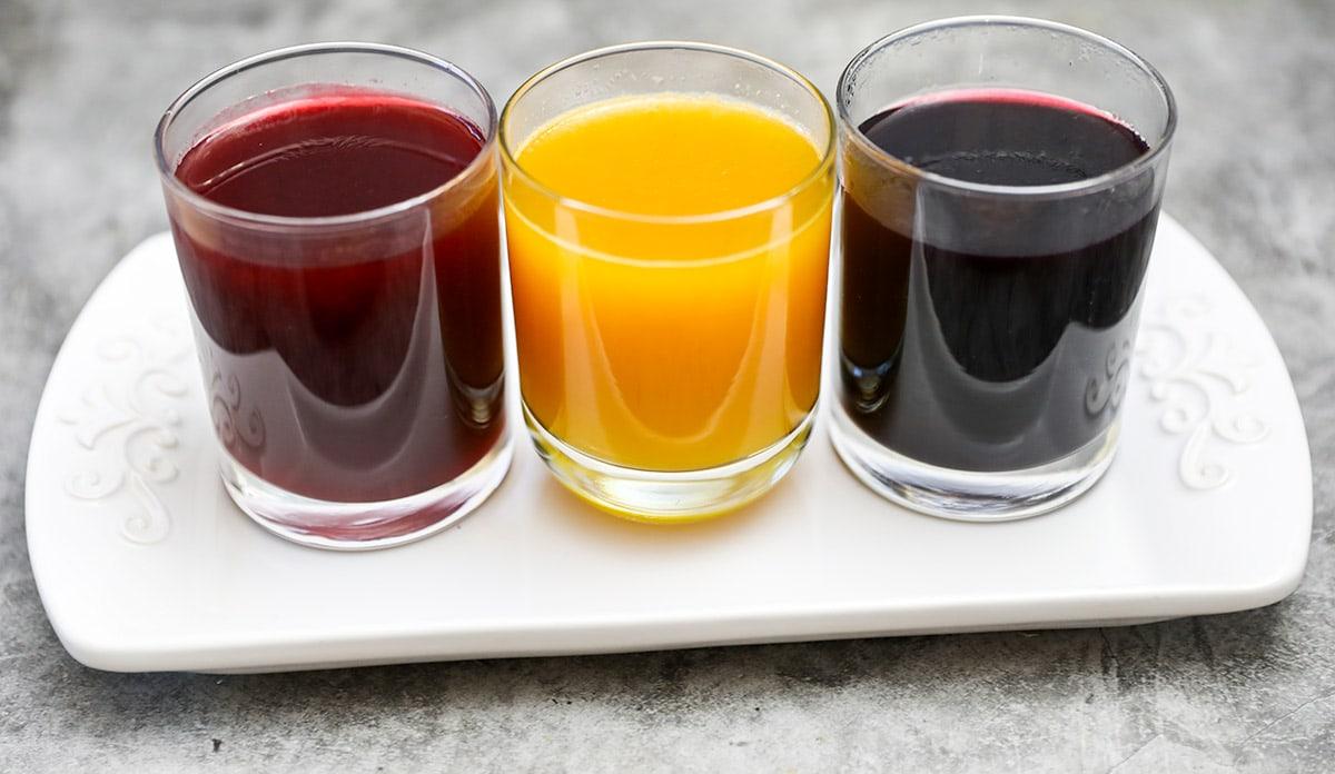 3 fruit juice sweetened juice vegan jello on a white platter