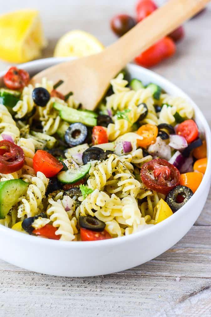 Italian pasta salad, in a white bowl