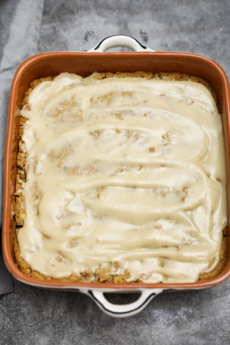 apple breakfast cake overlay in a square baking dish