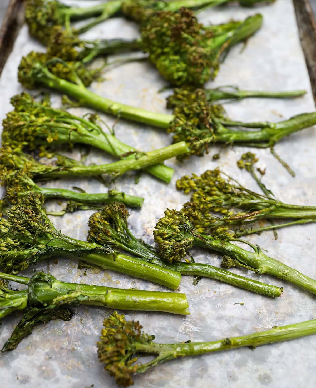 broccolini on baking tray