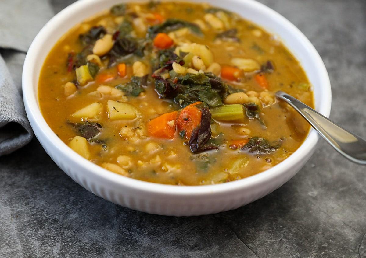 close up recipe of swiss chard soup
