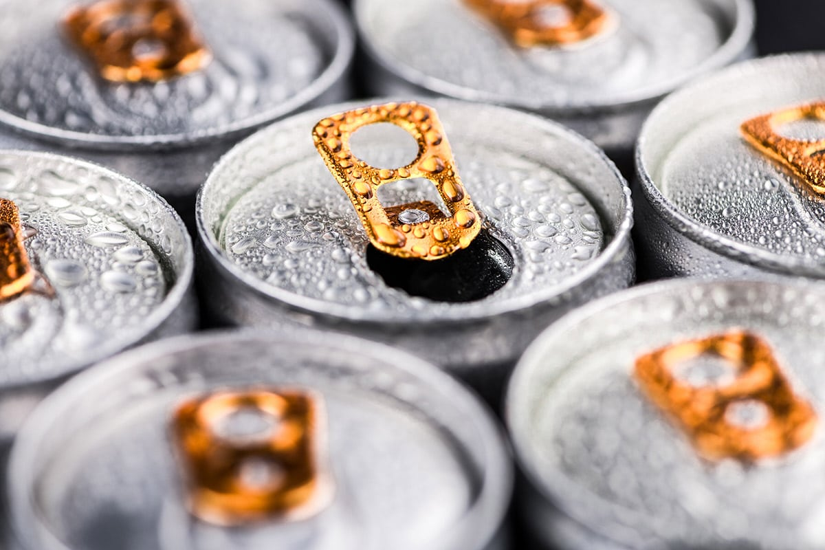 Energy drinks close up cans