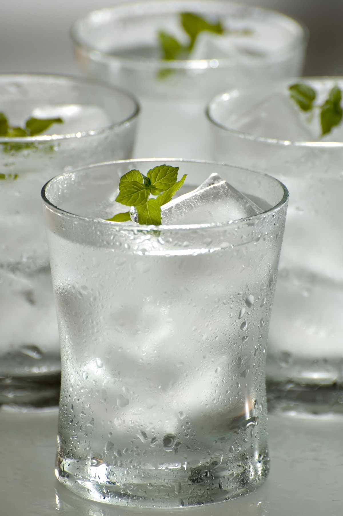 water in glasses and ice, garnished with mint leaves