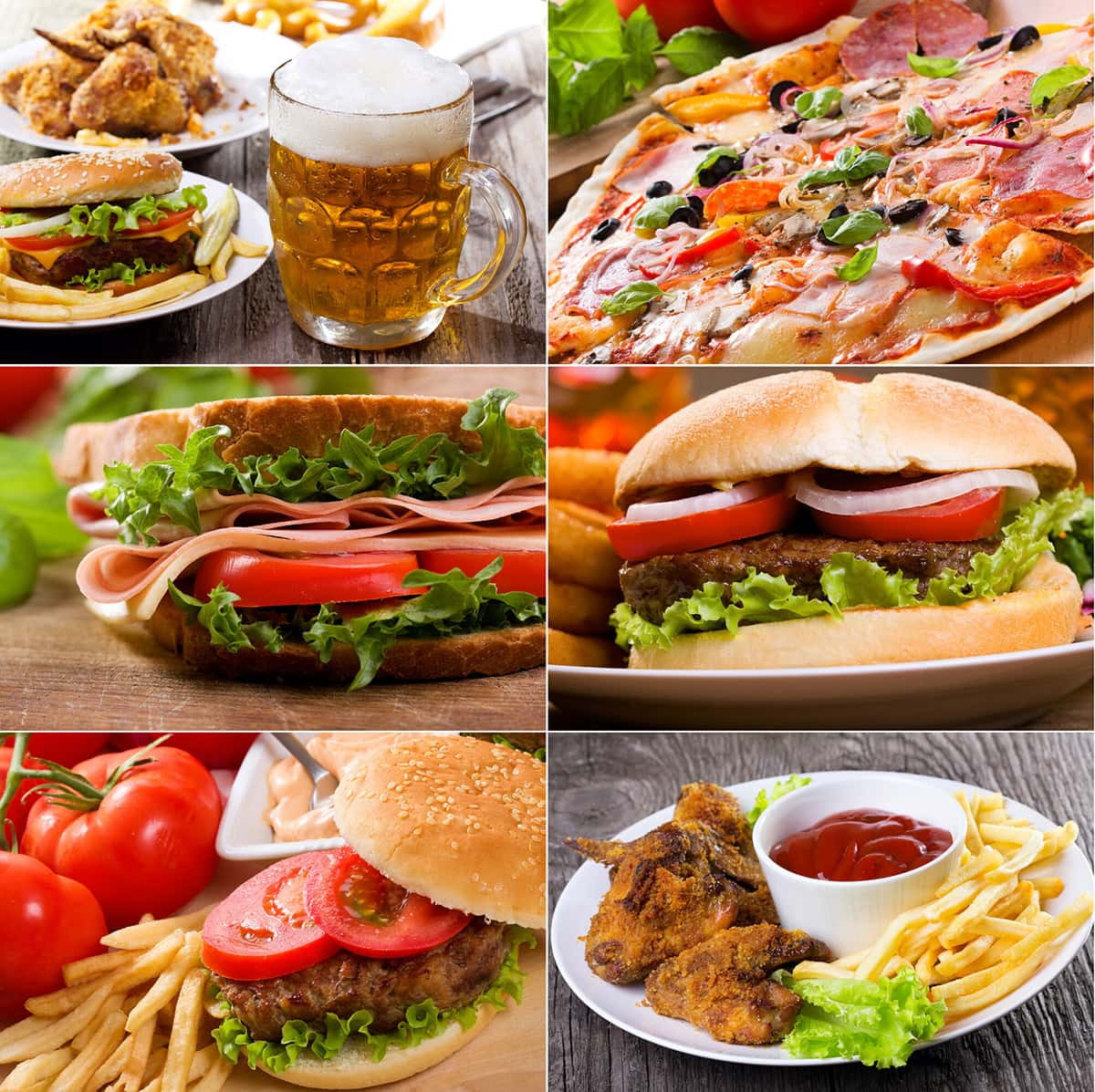 food addiction causes weight gain, showing lots of junk foods