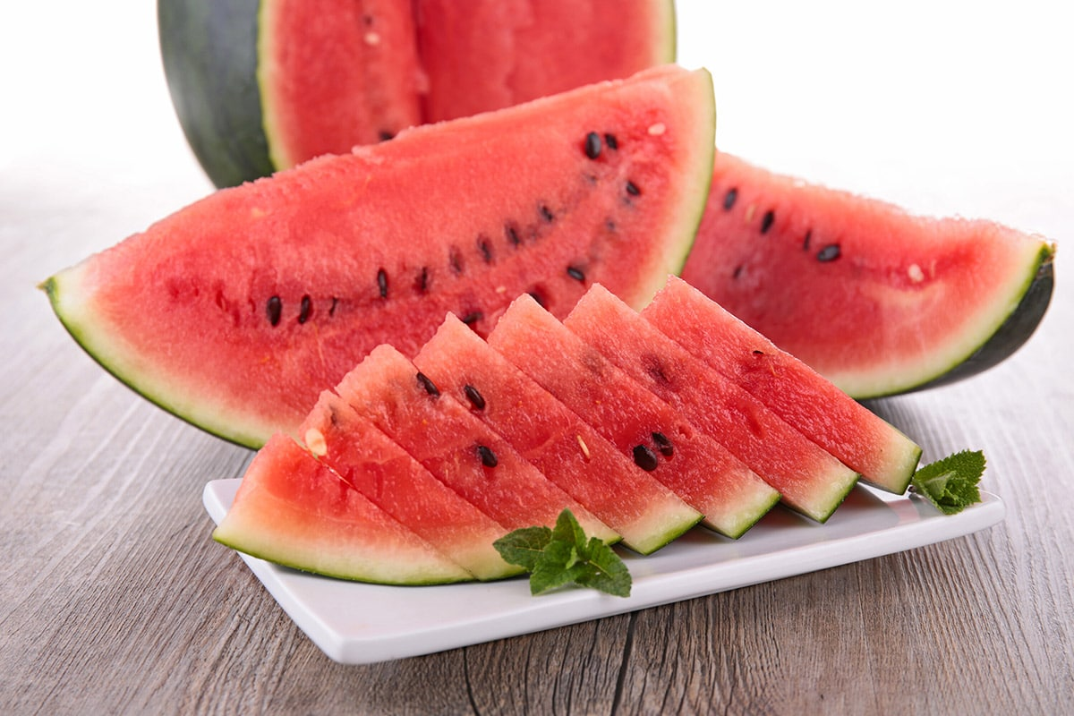 watermelon on white plate