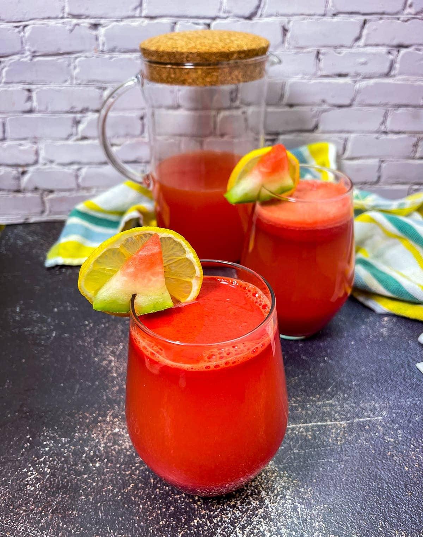 watermelon lemonade in pitcher