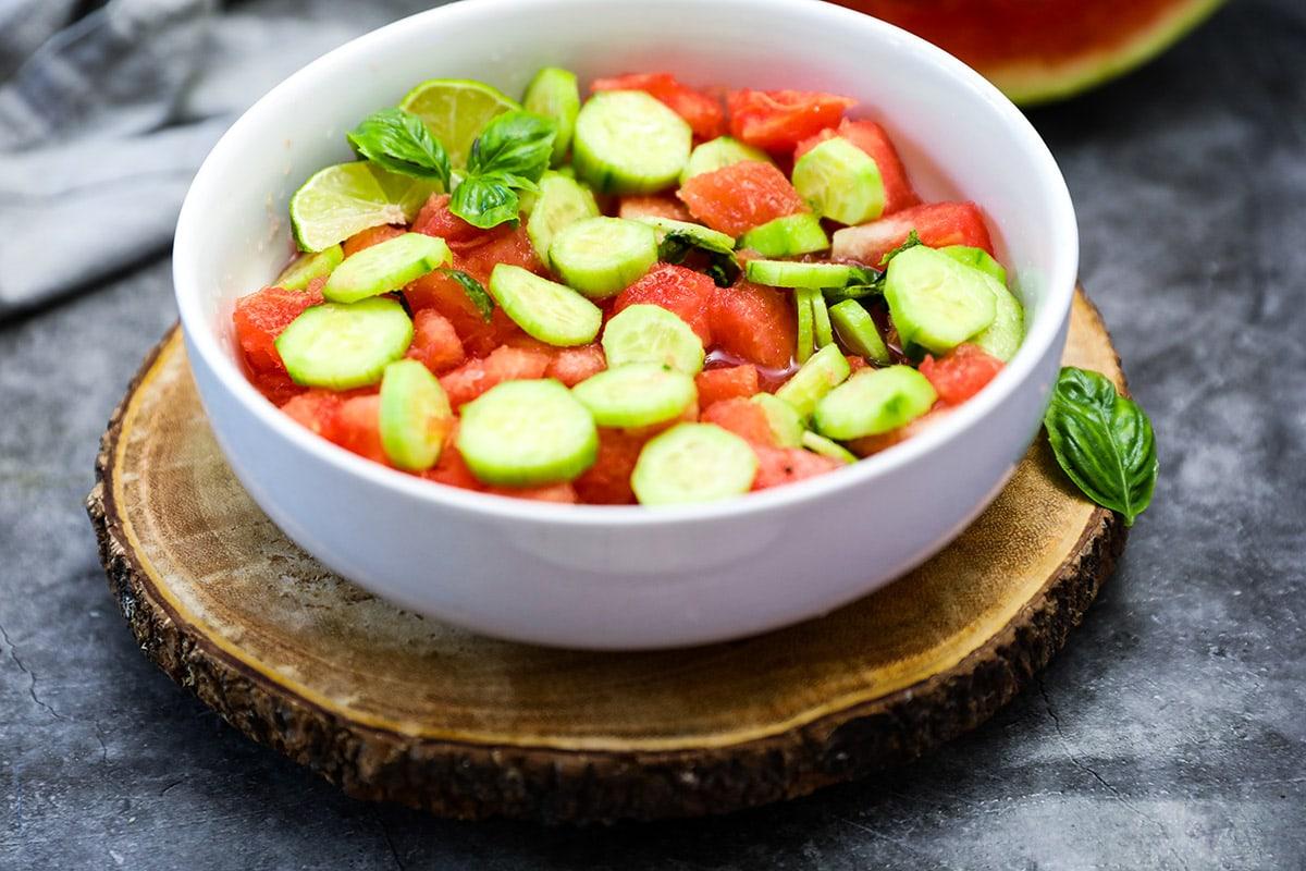 watermelon salad on wooden background