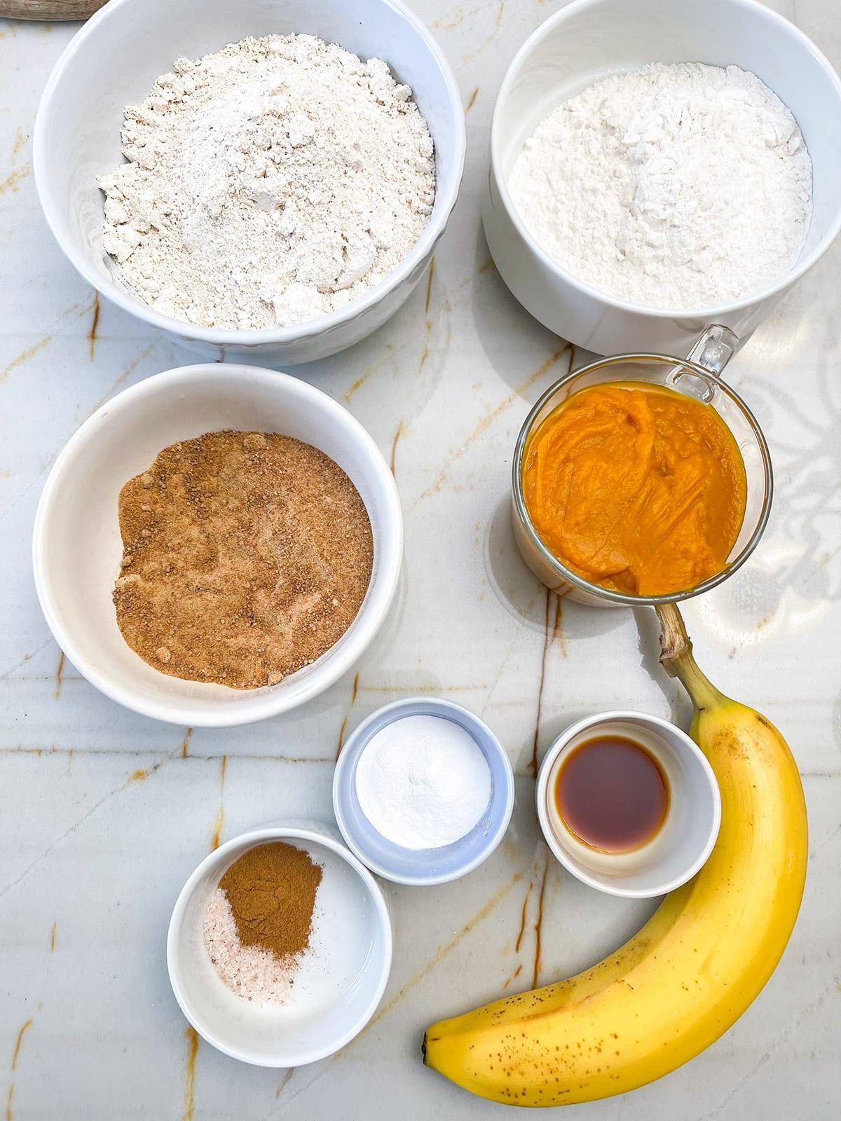 Pumpkin pull-apart ingredients on a beige background
